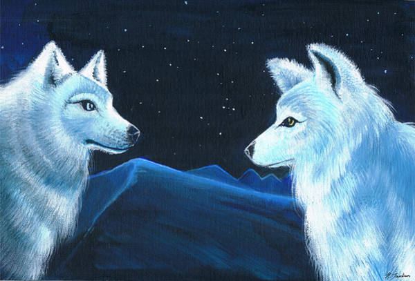 Arctic Wolf Painting - The Land Under The Stars by Hanna Jankun