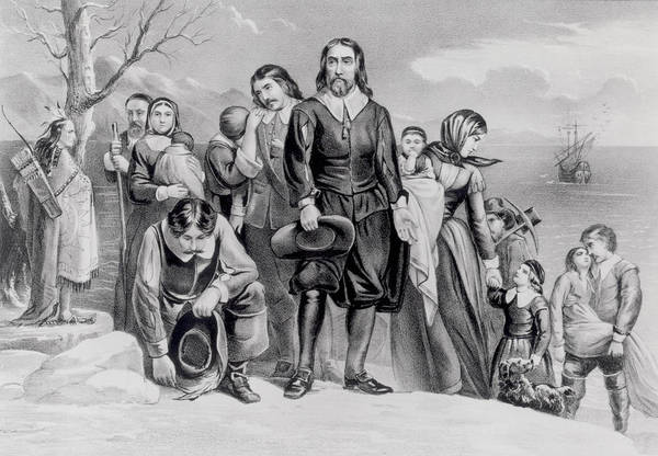 Settlers Photograph - The Landing Of The Pilgrims At Plymouth, Mass. Dec. 22nd, 1620, Pub. 1876 Engraving Bw Photo by N. Currier