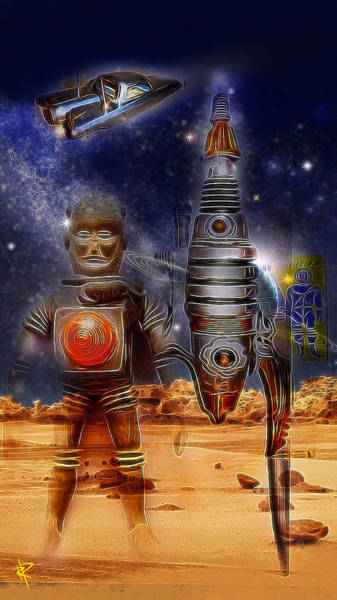 Space Mixed Media - The Landing Party by Russell Pierce