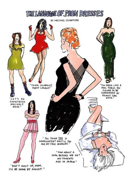 Boots Drawing - The Language Of Prom Dresses by Michael Crawford