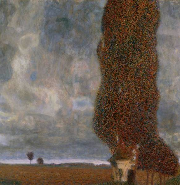 Grey Skies Wall Art - Painting - The Large Poplar II Gathering Storm by Gustav Klimt