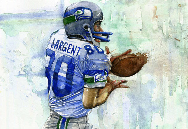 Seattle Seahawks Wall Art - Painting - The Largent by Michael Pattison