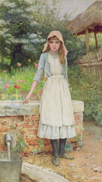 Wishing Well Painting - The Last Chore by Edward Killingworth Johnson