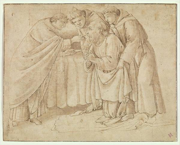Botticelli Wall Art - Drawing - The Last Communion Of Saint Jerome by Workshop of Botticelli