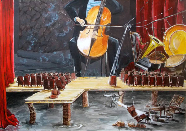 Wall Art - Painting - The Last Concert Listen With Music Of The Description Box by Lazaro Hurtado