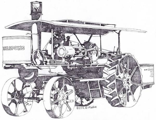 Old Tractor Drawing - The Last Minneapolis by David Fuller