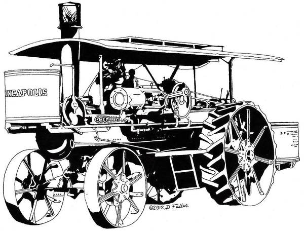 Old Tractor Drawing - The Last Minneapolis Pen by David Fuller