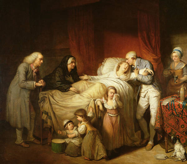 Daughter Photograph - The Last Moments Of The Beloved Wife, 1784 Oil On Canvas by Pierre Alexandre Wille