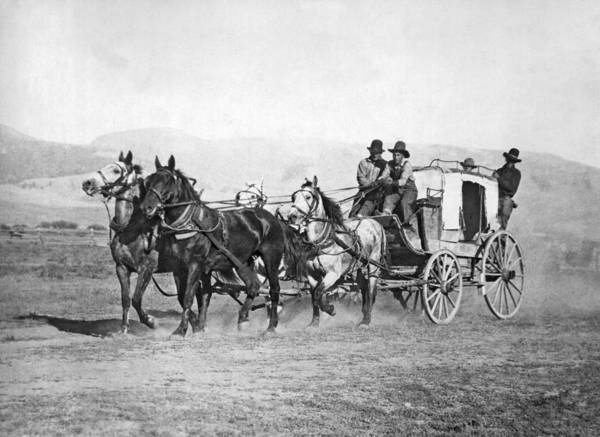 Stagecoach Photograph - The Last Montana Stage Coach by Underwood Archives
