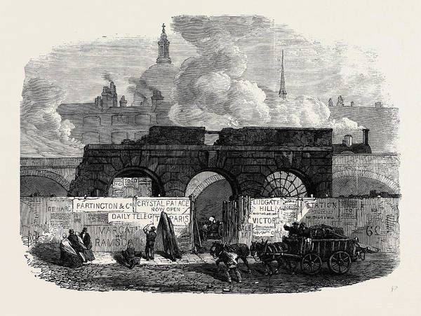 Old Style Drawing - The Last Of The Old Fleet Prison 1868 by English School