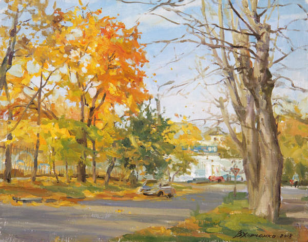 City Landscape Wall Art - Painting - The Last Warm Day by Victoria Kharchenko