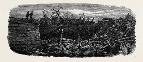 Explosion Drawing - The Late Explosion At Mayence Site Of The Powder Magazine by English School