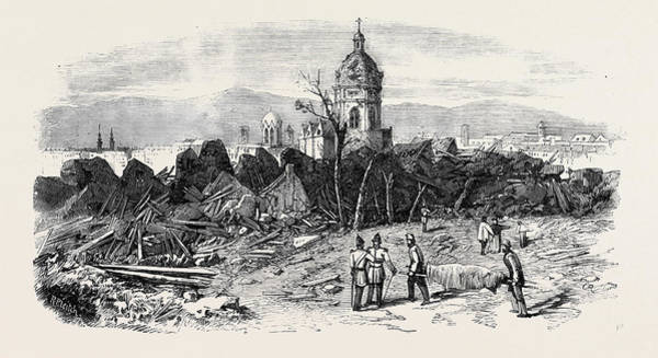 Explosion Drawing - The Late Explosion At Mayence St. Stephens Church Mayence by English School