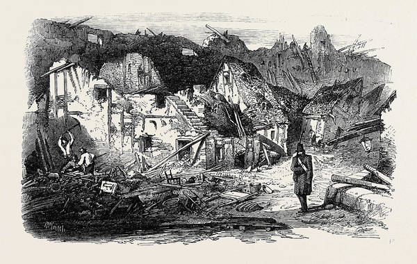 Old Style Drawing - The Late Explosion At Mayence The Old Kastrick Street by English School