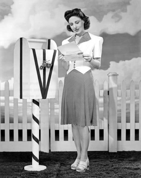 United States Postal Service Photograph - The Latest In Sport Dresses For The Forties by Underwood Archives