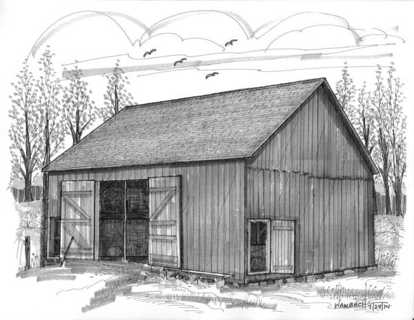 Drawing - The Lawrence Barn by Richard Wambach