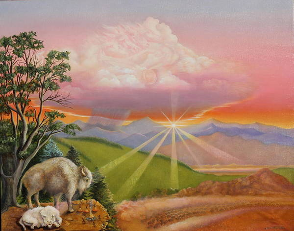 Painting - The Legend Of The Sacred White Buffalo by William T Templeton