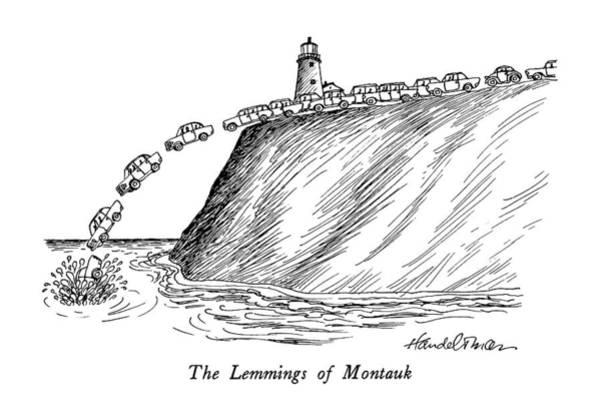 July 4th Drawing - The Lemmings Of Montauk by J.B. Handelsman