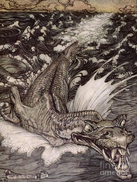 Sea Creature Painting - The Leviathan by Arthur Rackham