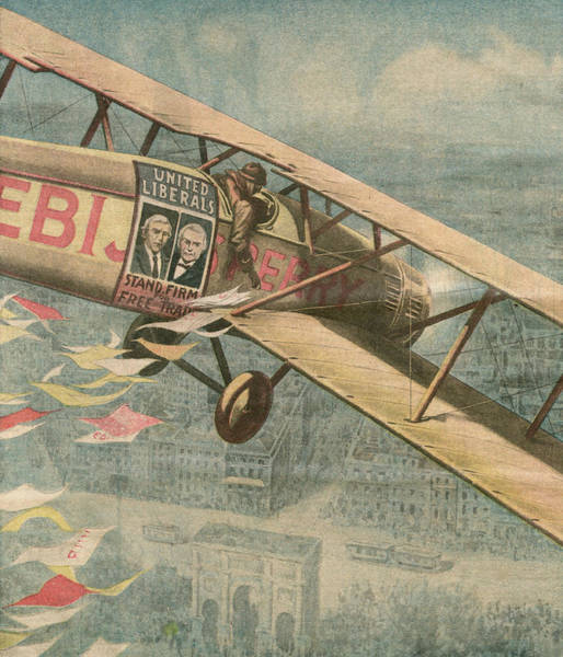 Distribution Drawing - The Liberals Take To The Air by Mary Evans Picture Library