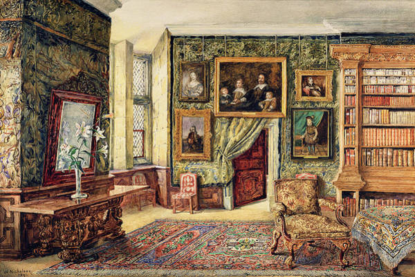 Elizabethan Wall Art - Painting - The Library At Hardwick Hall by W. Nicholson