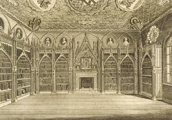 Fireplace Drawing - The Library, Engraved By Godfrey by English School