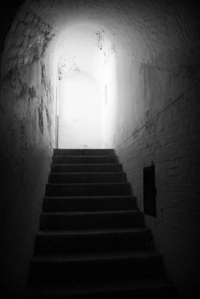 Photograph - The Light At The Top Of The Stairs - Bw by Marilyn Wilson