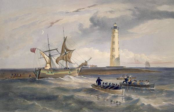 Rowing Wall Art - Drawing - The Lighthouse At Cape Chersonese by William 'Crimea' Simpson