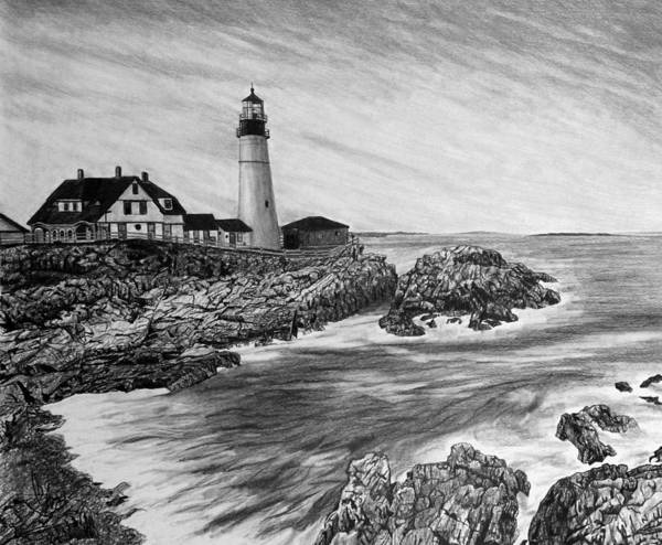 Atlantic Ocean Drawing - The Lighthouse by Bobby Shaw