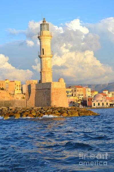 Taverna Photograph - The Lighthouse From Chania Venetian Harbor Crete Greece by Ana Maria Edulescu