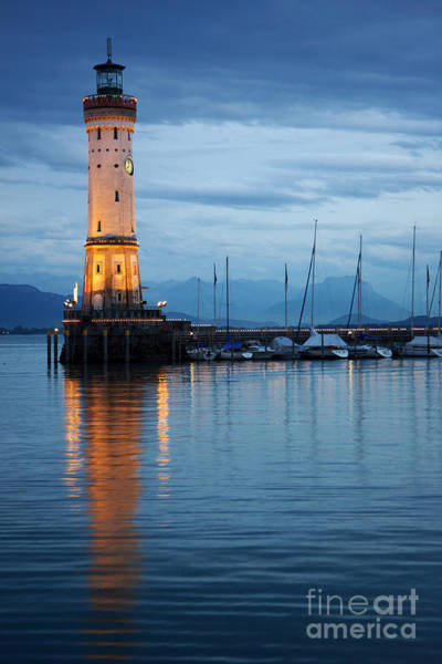 The Lighthouse Of Lindau By Night Art Print