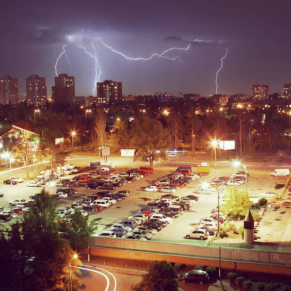 Parking Photograph - The Lightning In A Night City by Wind Of Renovatio
