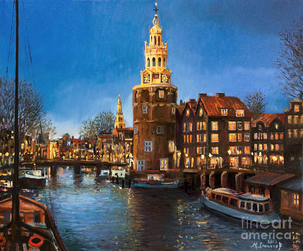 Wall Art - Painting - The Lights Of Amsterdam by Kiril Stanchev