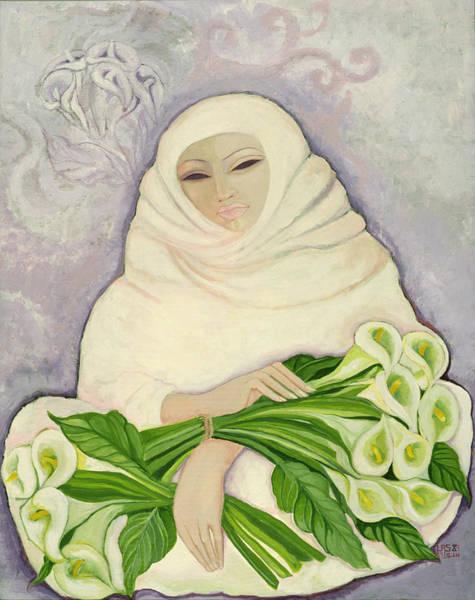 Headdress Photograph - The Lily Seller, 1989 Acrylic On Canvas by Laila Shawa