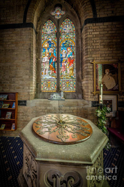 Holy Trinity Photograph - The Limestone Font  by Adrian Evans
