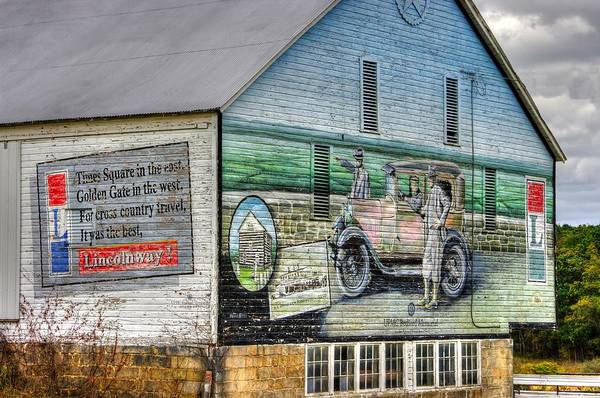 Wall Art - Photograph - The Lincoln Highway In Bedford County Pa - Barn Mural At Bison Corral Farm Near Schellsburg No. 2 by Michael Mazaika