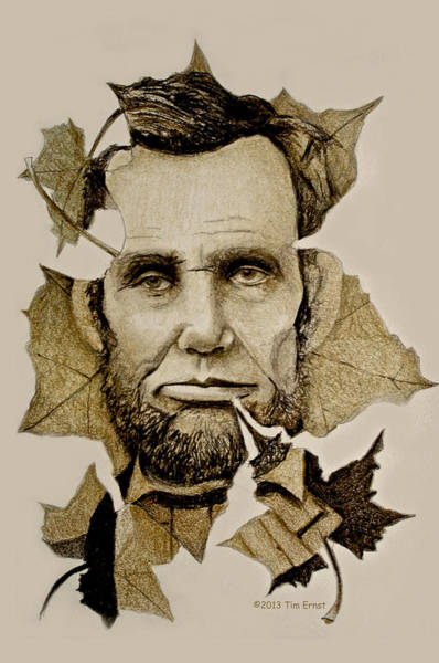 Drawing - The Lincoln Leaf by Tim Ernst