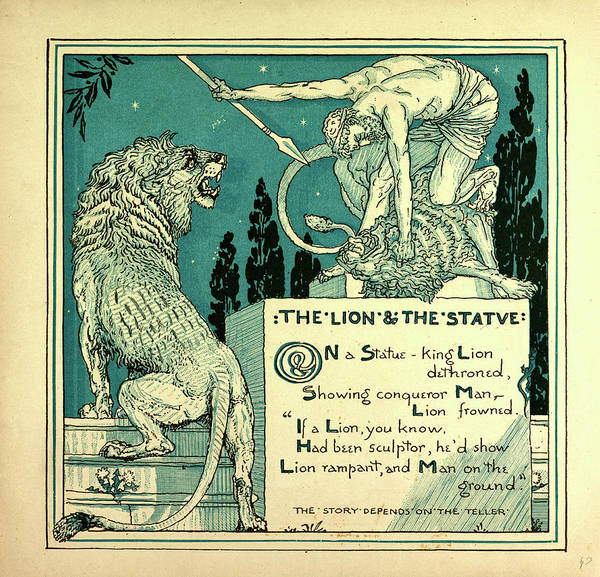 Wall Art - Drawing - The Lion And The Statue by English School
