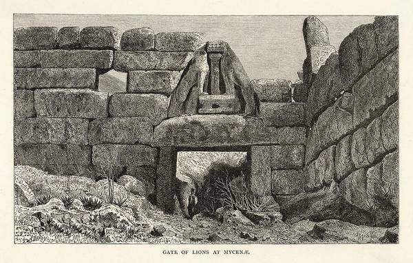 Wall Art - Drawing - The Lion Gate At Mycenae by Mary Evans Picture Library