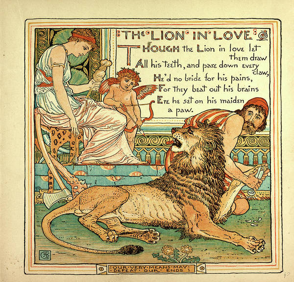 Wall Art - Drawing - The Lion In Love by English School