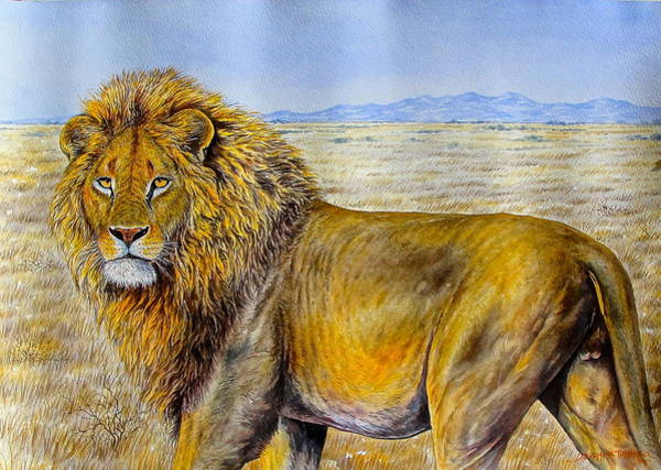 Painting - The Lion Rules by Joseph Thiongo