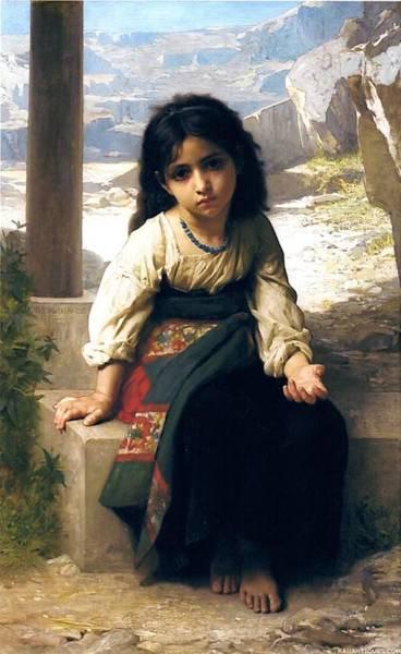 Digital Art - The Little Beggar by William Bouguereau