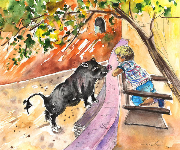 Painting - The Little Boy And The Black Pig by Miki De Goodaboom
