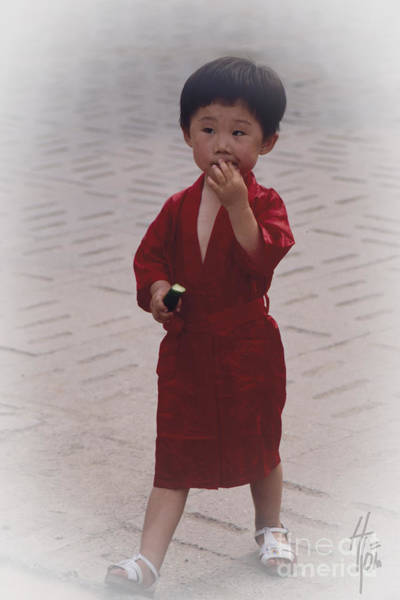 Photograph - The Little Boy In The Red Silk Dress by Heiko Koehrer-Wagner