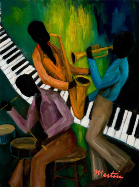 Wall Art - Painting - The Little Jazz Trio II by Larry Martin