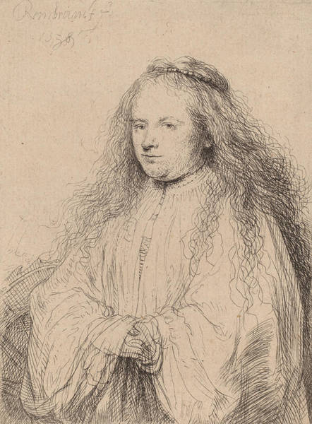 Baroque Drawing - The Little Jewish Bride by Rembrandt
