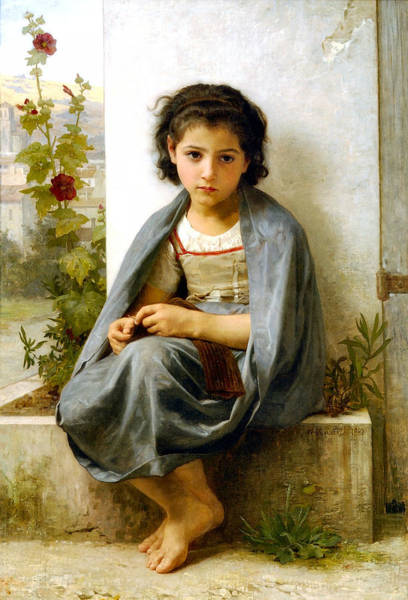 Wall Art - Digital Art - The Little Knitter by William Bouguereau