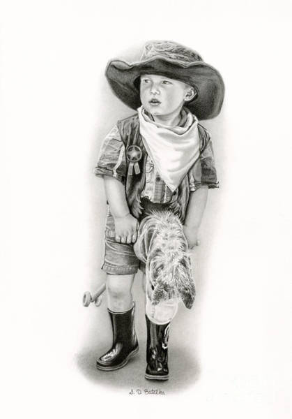 Wall Art - Drawing - The Little Sheriff by Sarah Batalka