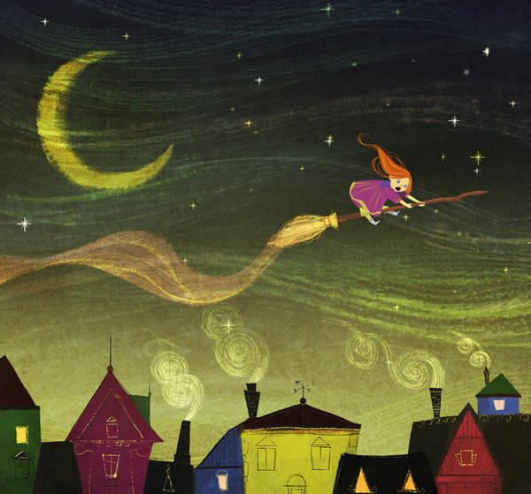 Broom Wall Art - Painting - The Little Witch by Kristina Vardazaryan
