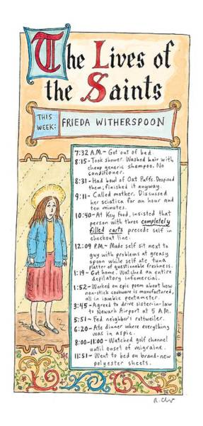 Daily Life Drawing - The Lives Of The Saints This Week:  Frieda by Roz Chast